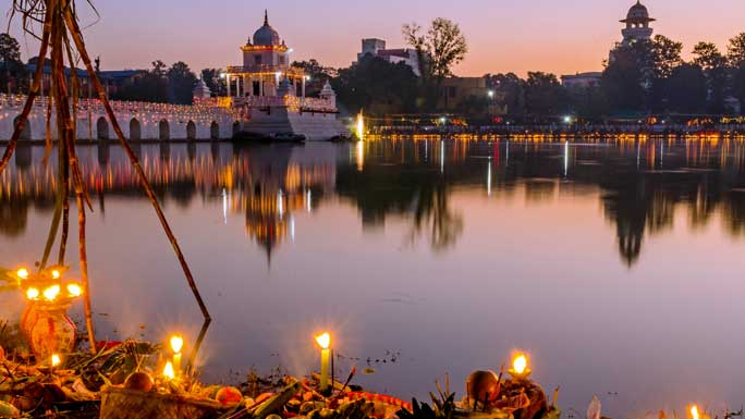 oil wicked lights around rani pokhari