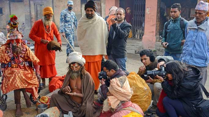 sadhu pilgrims at maha shivaratri